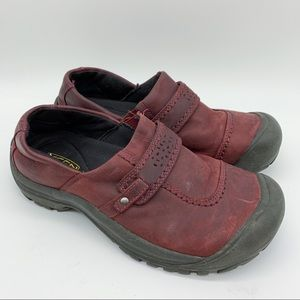 KEEN maroon leather slip on loafer clogs, 7.5.